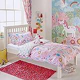 Unicorn niña Junior Infantil con Forma de Flores de arcoíris-Juego de Cama de Matrimonio Juego de Funda de edredón y Funda de Almohada, Color Rosa