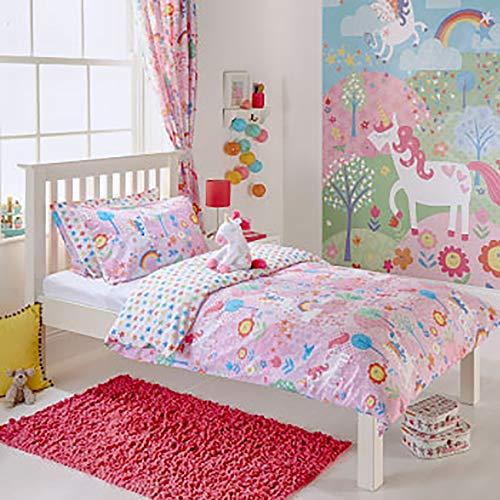 Unicorn niña Junior Infantil con Forma de Flores de arcoíris–Juego de Cama de Matrimonio Juego de Funda de edredón y Funda de Almohada, Color Rosa