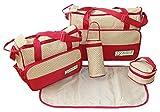 BOMIO 5teiliges Baby Wickeltaschen Set mit viel Stauraum (Rot)