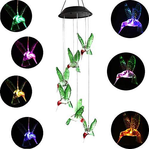 Solarbetriebenes, tragbares Windspiel mit LED-Beleuchtung, Farbwechsel,ür Garten Terrasse, Deck, Outdoor Indoor, Balkon, Hause,Garten, Partydekoration- Kolibri -