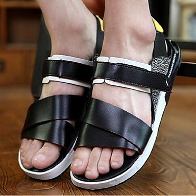 Uomini sandali estivi Casual in pelle tacco piatto bianco nero blu Black