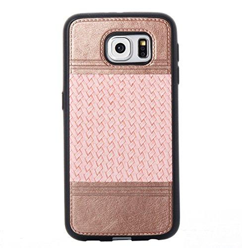Cover Per Samsung Galaxy S6, Asnlove TPU Moda Morbida Custodia Linee Intrecciate Caso Elegante Ultra Sottile Cassa Braided Stile Tessere Case Bumper Per Samsung Galaxy S6 - Rosa Rosa