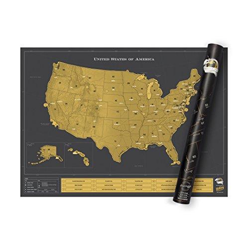 Luckies of London Weltkarte zum Rubbeln - Das Original Scratch Map, USA Luxus, Groß, 82,5 x 59,4cm