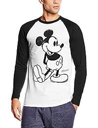 Disney Mickey Mouse Classic Kick B&w, Camiseta para Hombre