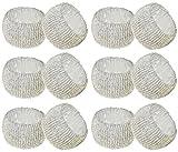 SKAVIJ Weihnachtsdekor Serviettenring Perlen Packung mit 12 Halter Ringe Vintage Runde Party Tischdekoration - 6,4 cm (Weiß)