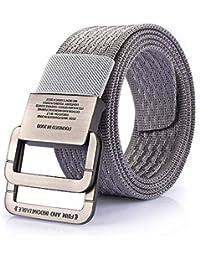 Hukangyu1231 Cinturon de Hombre Cinturón de Lona con Hebilla Doble para  Hombres Deportes al Aire Libre e747a998c7a8