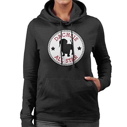 Dachsie All Star Converse Logo Women's Hooded Sweatshirt Black