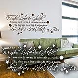 """Wandkings Wandtattoo """"Glaube an Wunder, Liebe & Glück. Schaue nach vorne & niemals zurück. Tu das was Du willst & stehe dazu, denn dieses Leben lebst nur Du. (mit Sternen, Kleeblättern und Herzen)"""" 50 x 21 cm schwarz - erhältlich in 33 Farben"""