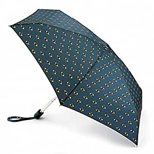 Fulton Bees Umbrella - Tiny, compact umbrella. Blue with Bee pattern. Fits in bag. Wind resistant framework.