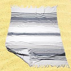 Burrito Blanco Pareo para playa/Toalla pareo 181 Algodón 90% Poliéster 10% con Reverso de Rizo 90x165 cm con Flecos Estampado de Rayas, Blanco y Gris