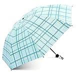 DUHUI Regenschirm-Mode-Klassischer Gitter-Regenschirm Drei Falten-Sonnenschutz, der Blaues Gitter faltet