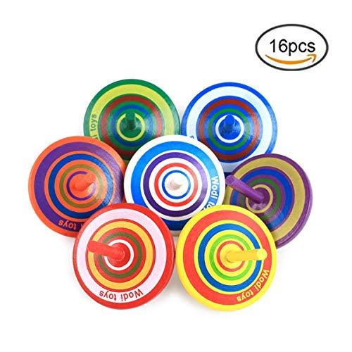 Herefun 16 Stück Kreisel aus Holz, Spielzeugkreisel aus Holz, Holzkreisel Bemalung Farbenfroher, Farbmischung, Mitgebsel