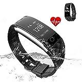 Jcotton Bluetooth Smart Watch IP67 Wasserdichte Smart Armband Herzfrequenz-Monitor Sport Wristband Fitness Tracker Multi-Sport-Modus Gesundheit Monitor Pedometer Anruf Nachricht Erinnerung für IOS Android Phone (Schwarz)