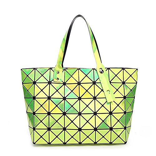 BUOU Shopper Taschen Frauen Handtaschen Plaid Geometrie Tasche Folding Damen Tote (Grün) -