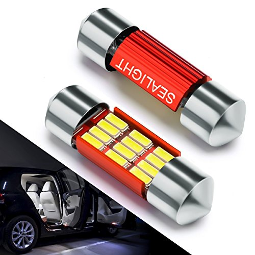 Bombillas LED Coche 31mm SEALIGHT 12 SMD Canbus Error Free Techo LED DE3175 4014 C5W DE3021 DE3022 5630 2835 6428 7065 Lampara coche Interior xenón 6000K 12V 2 Pack Luces LED coche