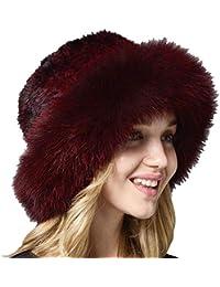 Grea Sombrero de Piel de visón Negro Sombreros de Piel de Zorro de Punto  Natural Gorro de Sol de Invierno de Mujer… 7ff7b8c5d57