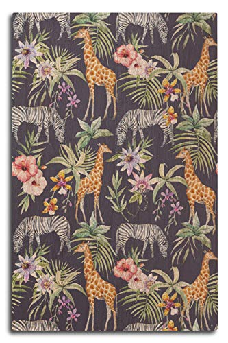 Lantern Press Girafes et zèbres - Motif Aquarelle sans Couture, Bois Dense, Multicolore, 10 x 15 Wood Sign