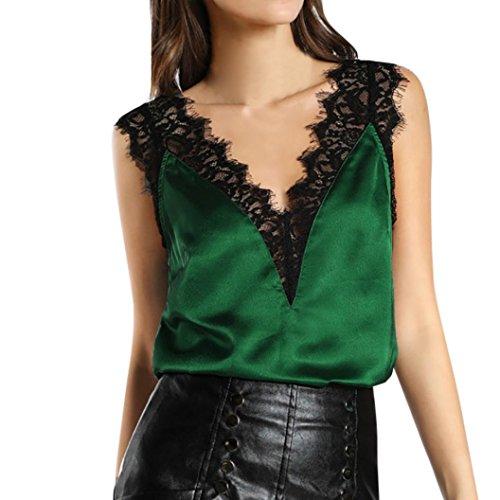 Damen Weste, erthome Frauen Spitze Westen Top Ärmelloses beiläufiges Tank Bluse Sommer Tops T-Shirt (Grün, XL) - Kragen Scrub Top