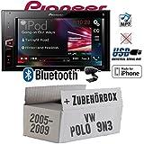 VW Polo 9N3 - Pioneer MVH-AV290BT - 2DIN USB Bluetooth Touch iPhone Android Autoradio - Einbauset