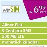 winSIM Allnet Flat + LTE [SIM, Micro-SIM und Nano-SIM] monatlich kündbar (500 MB LTE mit max. 50 MBit/s + Datenautomatik, Telefonie-Flat, 9 Cent pro SMS, 6,99 Euro/Monat) O2-Netz