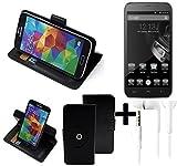 K-S-Trade® Case Schutz Hülle für Homtom HT6 + Earphones Handyhülle Flipcase Smartphone Cover Handy Schutz Tasche Walletcase schwarz (1x)