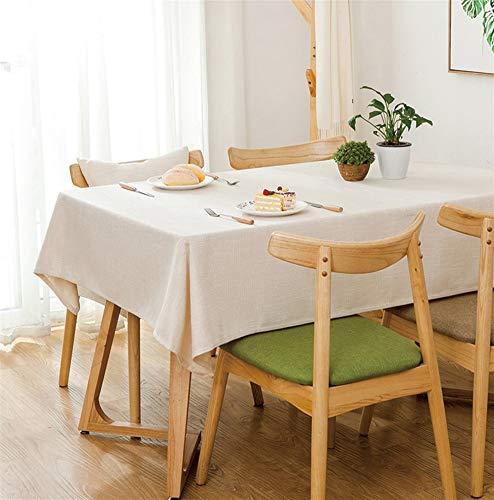 Insun Tischdecke aus Baumwolle und Leinen Tischwäsche Natur Schlichte Eleganz Dekorative Staubdichte Tischtuch Abwaschbar Beige 130x200cm Rechteckig -
