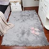 DAOXU piazza 75x120cm tappeto faux fur morbido soffice tappeto peloso faux montone tappeto tappeto tappeto soggiorno camera da letto decorazione (75x120cm, grigio)