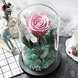 Diy dekorationen,Ewige blume geschenk-box Rosen im glas maske Kunstblumen Frische rose Dekoration-Rosa 15x22.5cm(6x9inch)