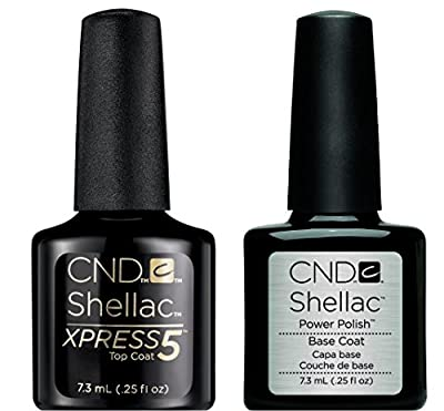CND Shellac Xpress5 Top Coat & CND Shellac Base Coat (7.3ml/Bottle) - Professional Gel Polish