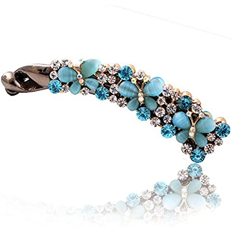 F&HY&L Clip de encanto con clips de mariposa Strass banana vertical doble , mix color matching