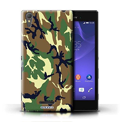 Kobalt® Imprimé Etui / Coque pour Sony Xperia T3 / Blanc 2 conception / Série Armée/Camouflage Vert 4