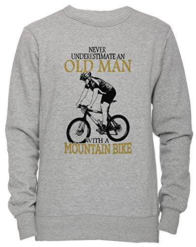c4471e09 Never Underestimate An Old Man with A Mountain Bike Unisex Uomo Donna Felpa  Maglione Pullover Grigio