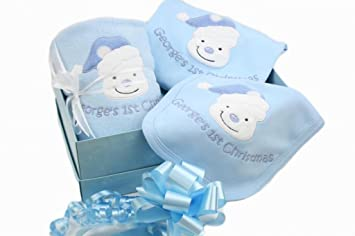 Personalised baby boy first 1st christmas blanket bib sleepsuit personalised baby boy first 1st christmas blanket bib sleepsuit gift box set amazon baby negle Choice Image