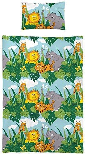 Aminata Kids Kinder-Bettwäsche 100-x-135 cm Zoo-Tier-e Safari Waldtier-e Dschungel Baby-Bettwäsche 100-% Baumwolle Renforce Bunte grün gelb Junge-n und Mädchen Giraffe-n Elefant-en
