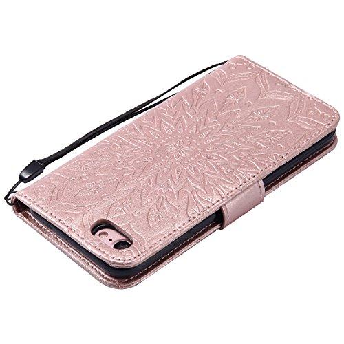 iPhone 7 Custodia,SainCat Custodia in Pelle Cover per iPhone 7, Anti-Scratch Protettiva Caso Elegante Creativa Dipinto Pattern Design PU Leather Flip Portafoglio Custodia Libro Protettiva Custodia a P Rose Gold