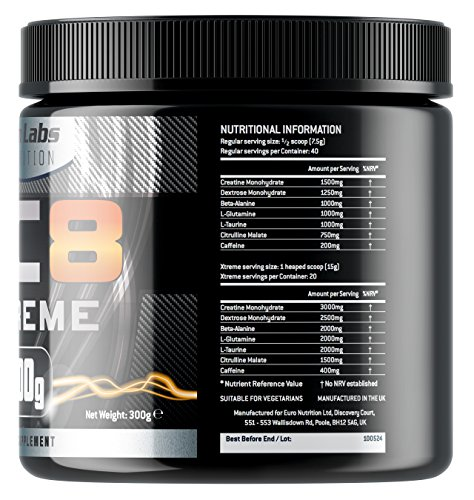 AC8 Xtreme   Pre-Workout Supplement   Energy & Muscle   Fruit Punch Flavour   20-40 Servings   300 grams
