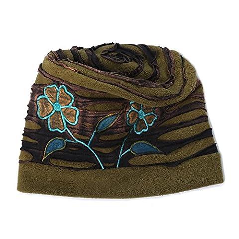 Kunst und Magie Cutwork Mütze 'Flower' aus Fleece Hippie Goa Psy Beanie, Army Green