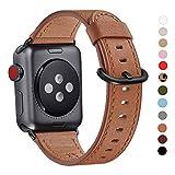 WFEAGL Kompatibel für Watch Armband,Top Grain Lederband Ersatzband mit Edelstahl-Verschluss Kompatibel für Serie 5/4/3/2/1