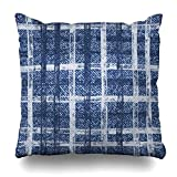 Zierkissenbezüge, Stripe Blue Plaid Grid Faded Denim Checkered Frayed Jeans Indigo Abstract Pattern Tartan Brush Modern Pillowcase Square Size 18 x 18 Inches Home Decor Cushion Cases