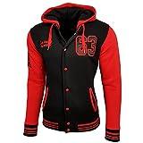 College Baseball Kapuzen Jacke Damen Herren Oldschool Jacket Sweatjacke 6876-1, Farbe:Schwarz / Rot;Größe:L