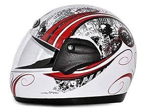 Vega Corah Orna Full Face Graphic Helmet (White and Red, M)