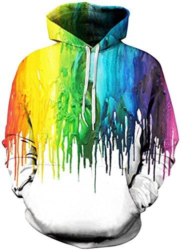 t Hoodie Long Sleeve Kapuzenpullover 3D Druck Muster Sweatshirt Pullover (L/XL, Ölfarbe) (Halloween Hoodies)