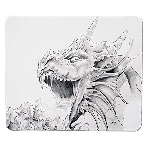 Yanteng Gaming Mouse Pad Dragón, Dibujo de un Personaje Espiritual Medieval Criatura mitológica Diseño Abstracto, Gris Claro Cosido Blanco