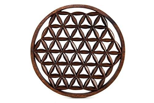 windalf-cuadro decorativo (Madera de alìa Diámetro 29cm la flor de la Vida hecho a mano de madera