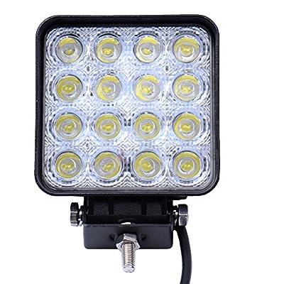 Greenmigo 48W 16 LEDs Eckiger Offroad Lampe LED Arbeitsscheinwerfer Flutlicht Reflektor Arbeitslicht SUV, UTV, ATV LED Zusatzscheinwerfer Offroad Scheinwerfer Rückfahrstrahler 12V 24V