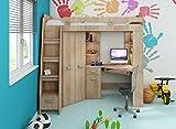Hochbett/Etagenbett/Entresole – alle in einer links Ablesen Treppen – Kinder Möbel Set. Bett, Kleiderschrank, Regal, Schreibtisch Sonoma Oak