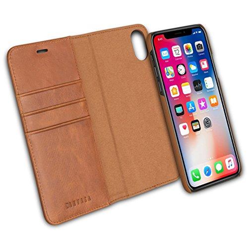KANVASA iPhone XS Flip Case/iPhone X Ledertasche 2 in 1 Lederhülle Braun Premium Echtleder Leder Tasche Cover für Original Apple iPhone XS/X/10S/10 - Wallet Hülle mit herausnehmbarem Backcover -