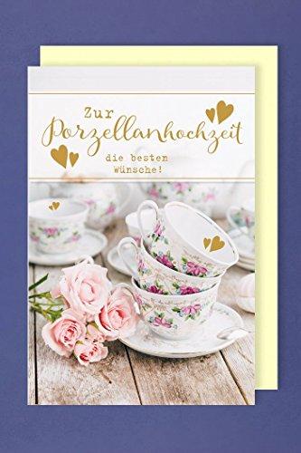 AvanCarte GmbH Porzellanhochzeit Grußkarte Hochzeitstag Kaffeegeschirr 16x11cm
