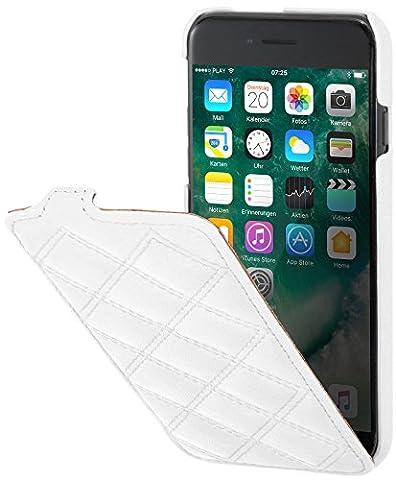 StilGut UltraSlim, housse iPhone 7 Plus en cuir. Etui de protection à ouverture verticale et fermeture clipsée en cuir véritable, Blanc nappa - collection Carat