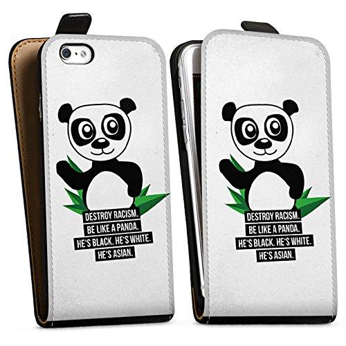 Apple iPhone X Silikon Hülle Case Schutzhülle Sprüche Panda Weiß Downflip Tasche schwarz